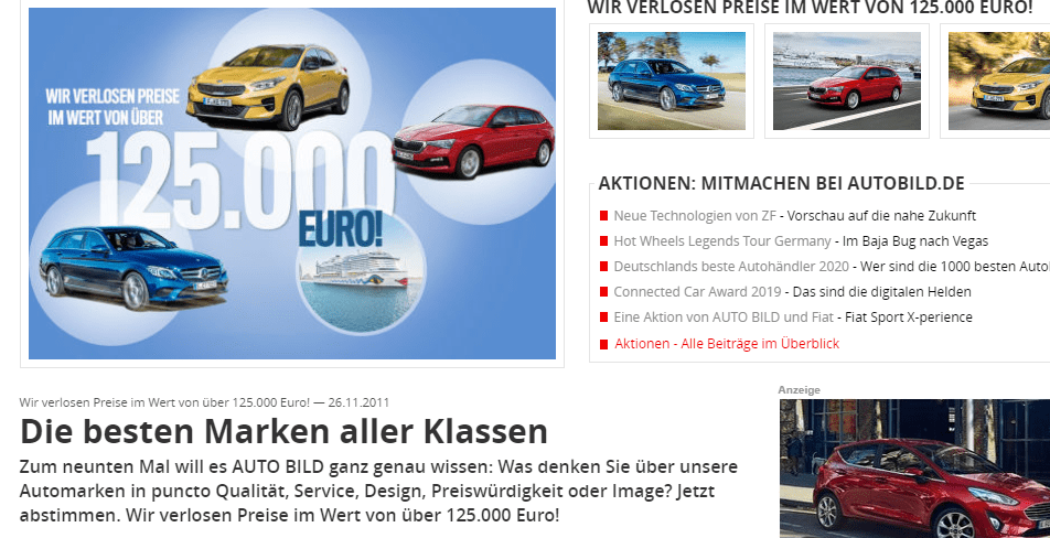 AUTO BILD Gewinnspiel: 125.000€ an Preisen zu gewinnen!