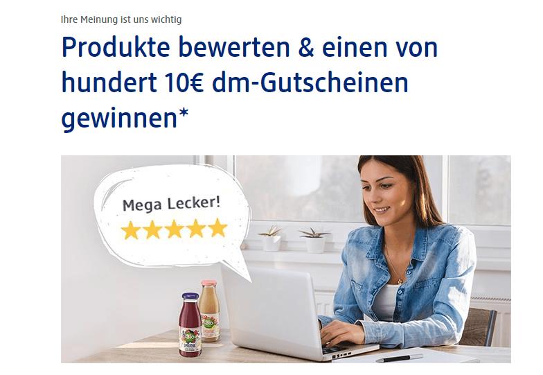 dm Gewinnspiel: Durch Bewertungen 1 von 100 Gutscheinen gewinnen!
