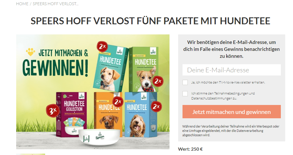 TV Movie Gewinnspiel: Hundetee Pakete gewinnen im Wert von 250€