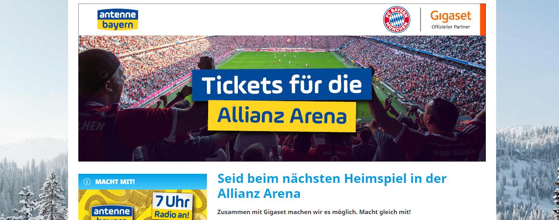 Antenne Bayern Gewinnspiel: 2 Tickets für das nächste Heimspiel vom FC Bayern gewinnen!