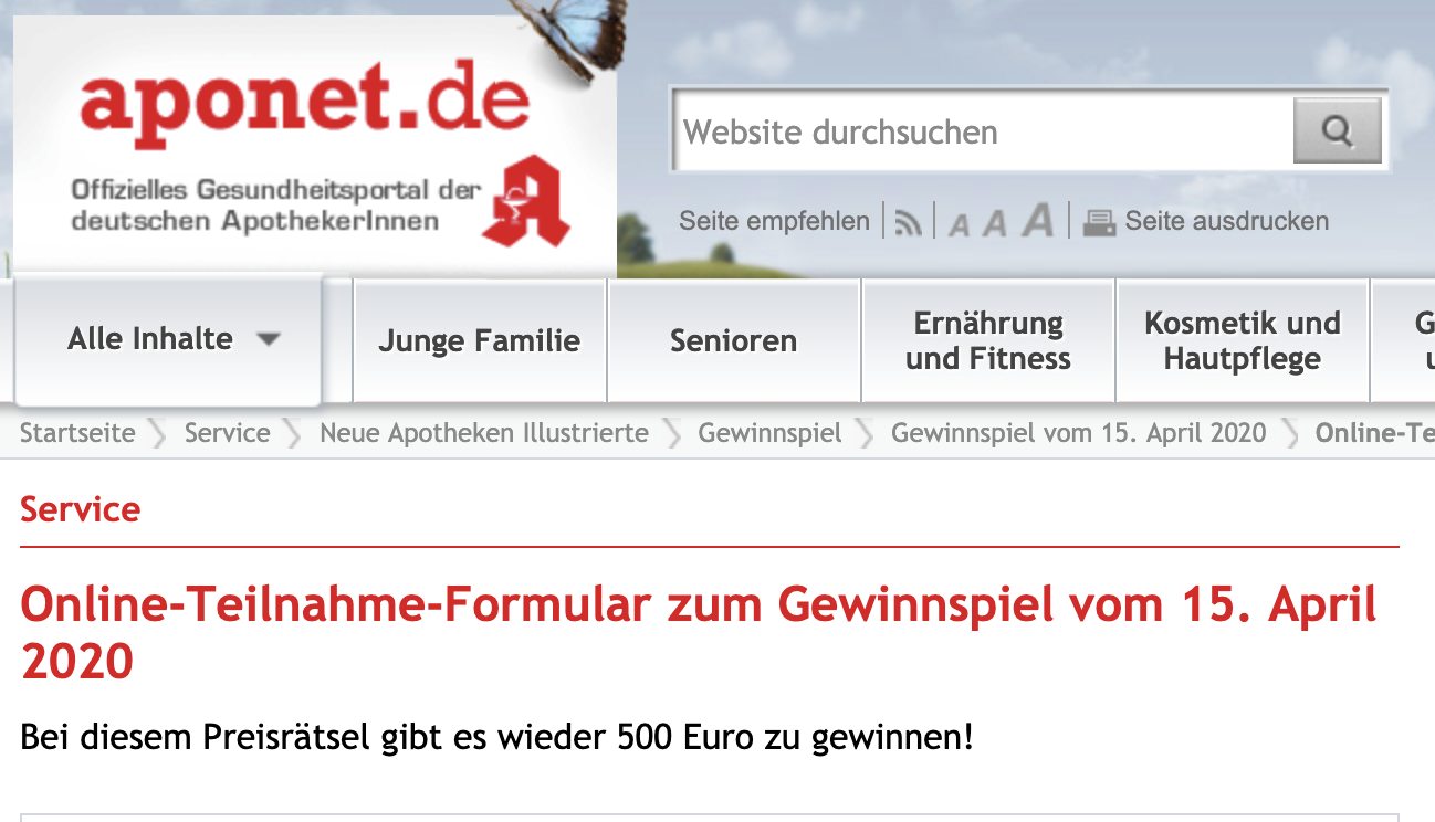 aponet Gewinnspiel: 500€ Bargeld zu gewinnen