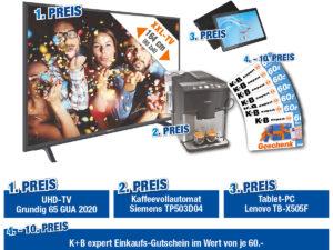expert Gewinnspiel: Grundig UHD-TV, Kaffeevollautomat, Tablet uvm. zu gewinnen