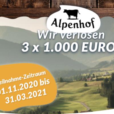 Alpenhof Käse Gewinnspiel: 1.000 Euro zu gewinnen