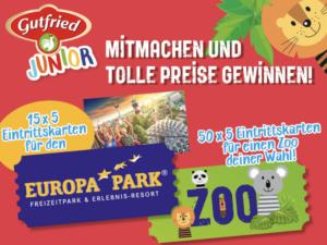 Gutfried Junior Gewinnspiel: Europapark und Zoo Tickets zu gewinnen