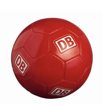 Deutsche Bahn Gewinnspiel: roter Ball im Deutsche Bahn Design zu gewinnen